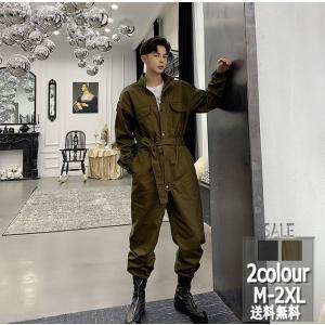 オーバーオール ストレートパンツ メンズ 立ち襟 長袖トップス 長ズボン 体型カバー ゆったり 無地 ファッション オシャレ 春新作 送料無料|keepy