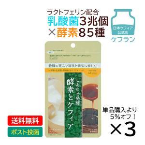 まとめ買い 乳酸菌 酵素 ラクトフェリン サプリ 乳酸菌3兆個 85種の酵素 しあわせ発酵 酵素とケフィア お得用3袋セット 送料無料 人気 ランキング ダイエット|kefran-yshop