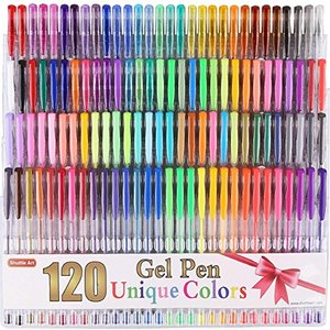 Shuttle Art 120色セット ジェルボールペン 多色 中性 ボールペン カラーペン 子供/大人の塗り絵 蛍光ペン ケース付き|keiandk
