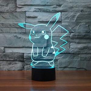 Pokemon Pikachu 3d LEDナイトライト、Elstey 3d Optical Illusion Visualランプ7色タッチテーブルデ|keiandk