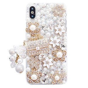 iPhone Xrケース,可愛い キラキラストーン 金属製のハンドバッグの装飾 カメリア花 真珠流?, iPhone 10r 6.1インチ 2018|keiandk