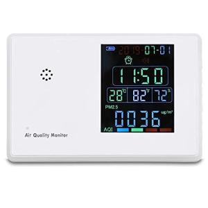KKmoon デジタルホルムアルデヒド 測定器 湿度計目覚まし時計 HCHO、TVOC、CO2、PM2.5、PM10、温度、湿度 大気質モニター|keiandk