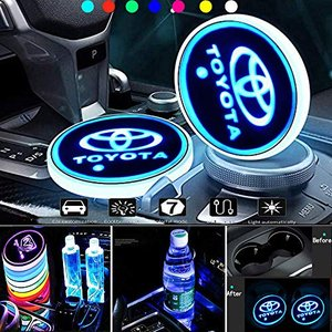KINBEAR LED ドリンクホルダー レインボーコースター 車載 ロゴ ディスプレイライト LEDカーカップホルダー マットパッド(Toyota keiandk