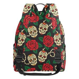 dc5657b8531f VAWA リュックサック 髑髏柄 高校生 女子 大容量 花柄 葉柄 欧美風 おしゃれ リュック レディース おしゃれ デイパック アウトドア