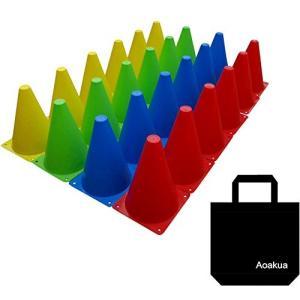 Aoakua 18cm マーカーコーン 全4色 収納袋 セット (24本(全4色-各6個))