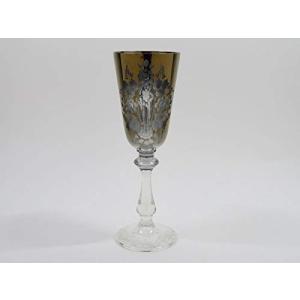 マイセンクリスタル シャンパングラス ● フラワー ブーケ シャンパンフルート 19.5cm プラチナ ゴールド 金 エングレーヴィング|keihouse