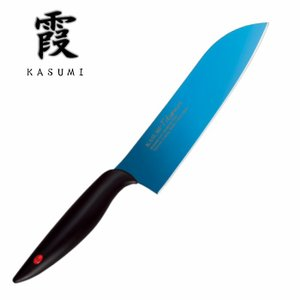 霞(KASUMI) スミカマ(SUMIKAMA) 三徳包丁 180mm チタンコーティング ブルー ...