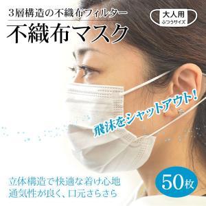 不織布マスク 50枚 3層 立体構造 ふつうサイズ 大人用 立体 抗菌 ウィルス飛沫 防塵 対策 フィルター 使い捨て 1箱|keitai-kazariya