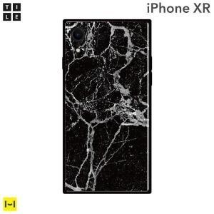 iPhone XR ケース EYLE スクエア型 iPhoneケース TILE(大理石/ブラック)|keitai
