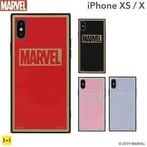 マーベル MARVEL スマホケース iPhoneXS  iPhoneX ケース iPhoneケース マーベル グッズ ロゴ TILE スクエア グリッター|keitai