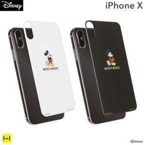 iPhoneX ガラスフィルム ディズニー 強化ガラス キャラクター プレミアムガラス9H 背面保護シート0.33mm ミッキーマウス|keitai