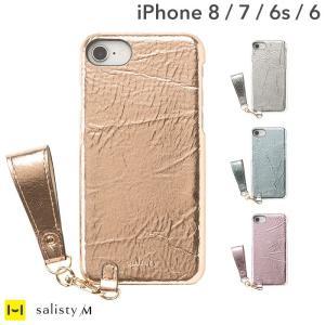 iphone8 ケース 落下防止 ストラップ付 スマホカバー iphone7 iphone6s iphone6 ケース シャイニー ハードケース salisty サリスティ M|keitai