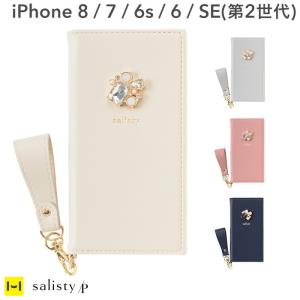 iPhone XS ケース 手帳型 キラキラ iphone X iphone 8 iphone 7 6s 6 salisty サリスティ P ワンポイントビジュー ダイアリーケース|keitai