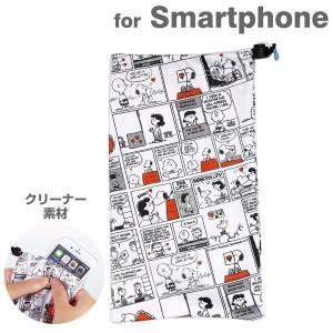 スマホポーチ マイクロファイバー クリーナー キャラクター スマホ スマートフォン ポーチ SNOOPY / コミック KYUKYU|keitai