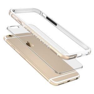 iPhone6s ケース アルミバンパー キラキラ ラインストーン メタル クリア背面パネル エレガント おしゃれ アイフォン6s  6s-o67-t50928|keitaicase