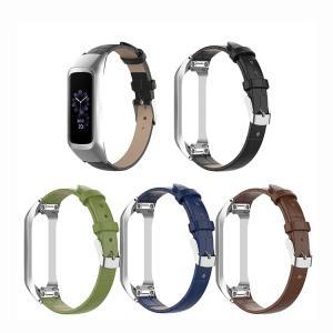 Samsung Galaxy fit-e 交換用バンド ビジネス 本革調 レザーベルト+ステンレス バンド スマートウォッチ ギャラクシー fit-e 交換 時計ベルト リストバンド 替え|keitaicase