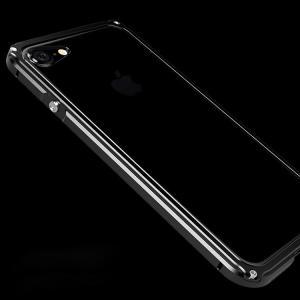 Apple iPhone8/iPhone7 アルミバンパー クリア バックパネル付き 2重構造 かっこいい メタルケース|keitaicase