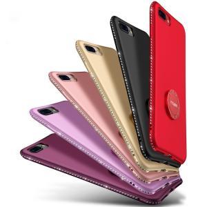 Apple iPhone8 Plus ハードケース ラインストーン きらきら リングブラケット スマホリング エレガント おしゃれ  ip8p-fm02-w70918|keitaicase