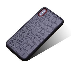 iPhone X ケース レザー クロコダイル調 かっこいい 背面カバー シンプルでスリム アイフォンX 背面ケース|keitaicase