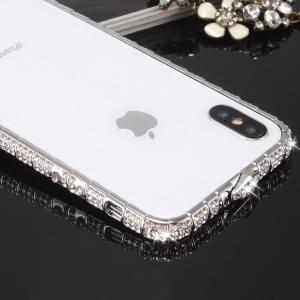 Apple iPhone XS / iPhone X アルミバンパー ケース ラインストーン キラキラ エレガント アイフォンXS/X ケーススマートフォン/スマフォ/スマホバンパー|keitaicase