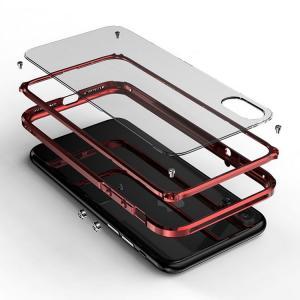 iPhoneX アルミバンパー クリア バックパネル付き 2重構造 アイフォンX ハードケース|keitaicase
