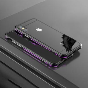 apple iPhone XS / iPhone X  アルミバンパー ケース 背面 クリア カバー付き 際立つエッジ 金属スマートフォン/スマフォ/スマホバンパー|keitaicase