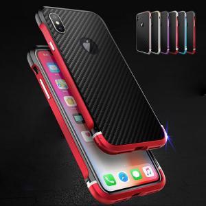 apple iPhone XS / iPhone X  アルミ バンパー ケース カーボン調 背面カバー付き かっこいい ススマートフォン/スマフォ/スマホバンパー|keitaicase
