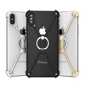 apple iPhone XS / iPhone X  アルミフレーム 4コーナーガード リングブラケット付き クロスフレースマートフォン/スマフォ/スマホケース/カバー|keitaicase