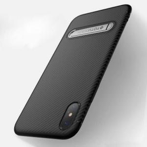 Apple iPhone XS / iPhone X ケース TPU カーボン調 かっこいい スリム アイフォンXS/X ソフトケーススマートフォン/スマフォ/スマホケース/カバー|keitaicase