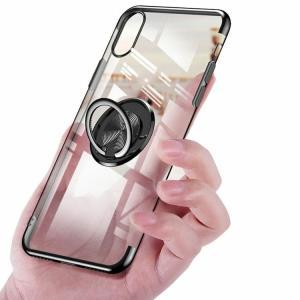 Apple iPhone XR クリアケース/カバー TPU 耐衝撃 片手持ち スマホリング付き カバー シンプル スリム アイフォンXRメッキ 透明 ソフトケース/カバー おすすめ|keitaicase
