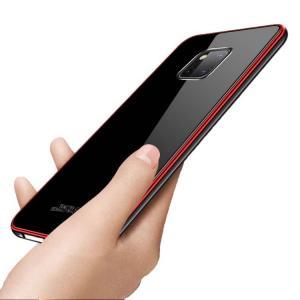 Huawei Mate 20 Pro ケース/カバー アルミ バンパー クリア 透明 強化ガラス 背面パネル付き かっこいい ファーウェイ メイト 20 プロ  メタル サイドバンパー|keitaicase