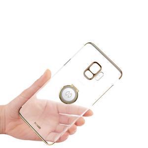 Samsung Galaxy S9 クリアケース/カバー メッキ 片手持ち スマホリング付き  ギャラクシーS9 / SC-02K / SCV38  galaxys9 透明ハードケース/カバー|keitaicase