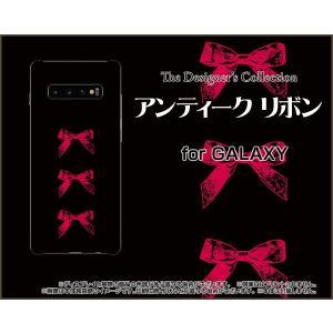 GALAXY S10+ ギャラクシー SC-04L SCV42 docomo au スマホ ケース/カバー 液晶保護フィルム付 アンティークリボン(赤×黒) クラシック りぼん 赤 黒|keitaidonya