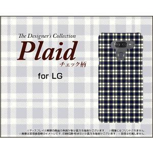 LG K50 エルジー ケイフィフティー SoftBank スマホ ケース/カバー Plaid(チェック柄) type001 ちぇっく 格子 紺 ベージュ シンプル|keitaidonya