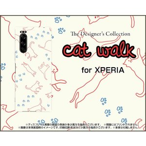 XPERIA 5 SO-01M SOV41 エクスペリア ファイブ スマホ ケース/カバー 液晶保護フィルム付 キャットウォーク(ベージュ) ねこ 猫柄 キャット レッド 白 keitaidonya