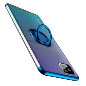 iPhone 11/11Pro/11 Pro Max クリアケース メッキ TPU リング付き ソフトカバー 透明ケースソフトケース 耐衝撃 【液晶保護フィルム付】|keitaiichiba