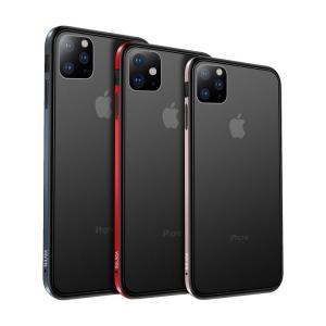 iPhone 11 ケース 11Pro/11 Pro Max カバー アルミ バンパー クリア 半透明 TPU 背面パネル付き かっこいいアルミサイドバンパー【液晶保護フィルム付】|keitaiichiba