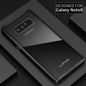Samsung Galaxy Note8 ケース アルミ バンパー クリア 透明 強化ガラス 背面パネル付き アルミ かっこいい   note8-be01-t70822