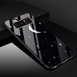 Samsung Galaxy Note8 ケース TPU バンパー 背面強化ガラス 背面パネル付き かっこいい ギャラクシーノート  note8-bl33-t71208