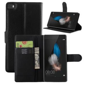Ascend P8 Lite ケース レザー 手帳 ウォレット/財布型/カード収納 シンプルでオシャレ 上質で高級なPUレザー ア  スマートフォン/スマフォ/スマホケース/カバー|keitaiichiba