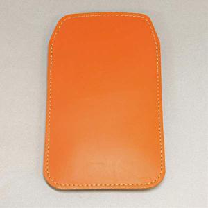 本革スマートフォンケース オレンジ SH-04E/SH-01E/F-03E/SH-05E/N-02E/iPhone4S/Xperia acro/iPhone5 等 汎用タイプ|keitaijiman