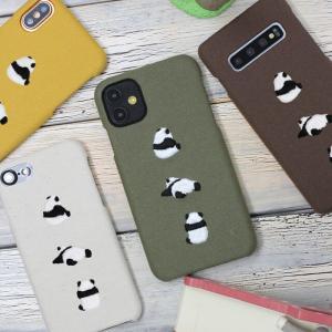 多機種対応 スマホケース ハードケース 刺繍 キュートなパンダ まるっと全貼り 帆布 スマホカバー iphone SE 2020 se2 iPhone12 12Pro iPhoneX メール便送料無料 keitaijiman