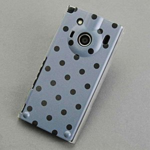 IS04ケース レグザフォン 特殊印刷カバー 500 ドット柄グレー&ブラック クリア レグザフォン...