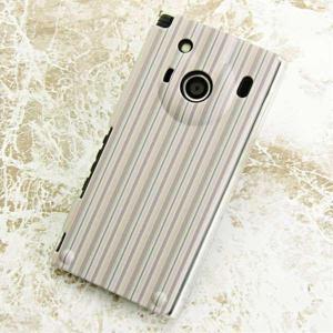 IS04ケース レグザフォン 特殊印刷カバー 530 ストライプベージュ クリア レグザフォン is...