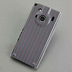 IS04ケース レグザフォン 特殊印刷カバー 532 マイクロストライプ-ダブル クリア レグザフォ...
