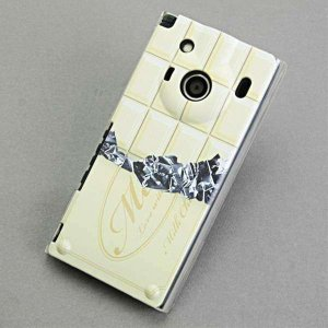 IS04ケース レグザフォン 特殊印刷カバー 553 板チョコ-ホワイト クリア レグザフォン is...