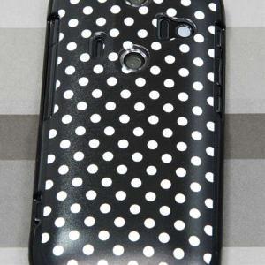 006SHケース AQUOS-PHONE  特殊印刷カバー 059 ドット柄 水玉 ブラック×ホワイト|keitaijiman|02