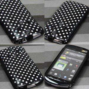 006SHケース AQUOS-PHONE  特殊印刷カバー 059 ドット柄 水玉 ブラック×ホワイト|keitaijiman|03