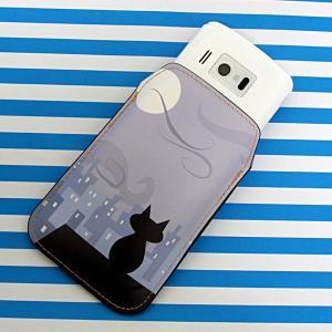 【納期2週間】 本革 レザー スマートフォンケース 012 屋根の上のねこ Xperia A/Galaxy S4/ARROWS NX/AQUOS PHONE SERIE/iPhone5 等 汎用タイプ|keitaijiman