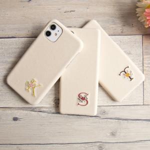 スマホケース 多機種対応 ハードケース PUレザー 刺繍 イニシャル ケース カバー iPhone12 Pro Max iphone11 iPhoneX AQUOS R5G sense メール便送料無料 keitaijiman